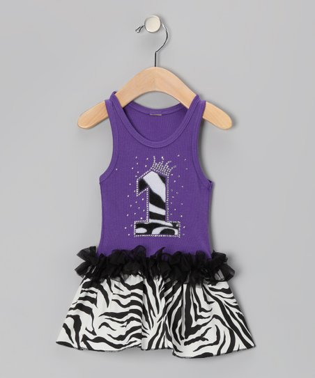 Purple Zebra Stripe '1' Ruffle Dress - Infant