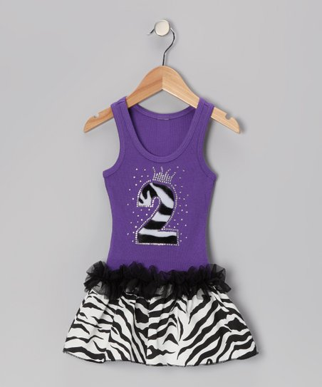 Purple Zebra Stripe '2' Ruffle Dress - Toddler