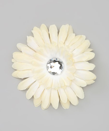 Cream Jewel Flower Clip