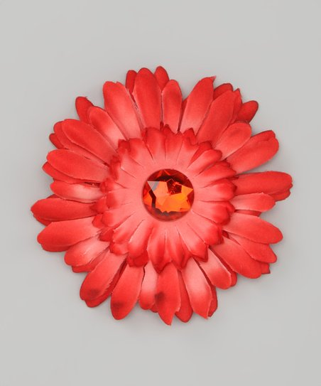 Orange & Red Jewel Flower Clip