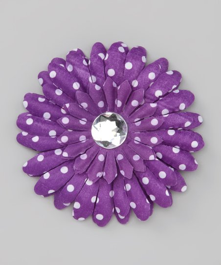 Purple Polka Dot Rhinestone Flower Clip