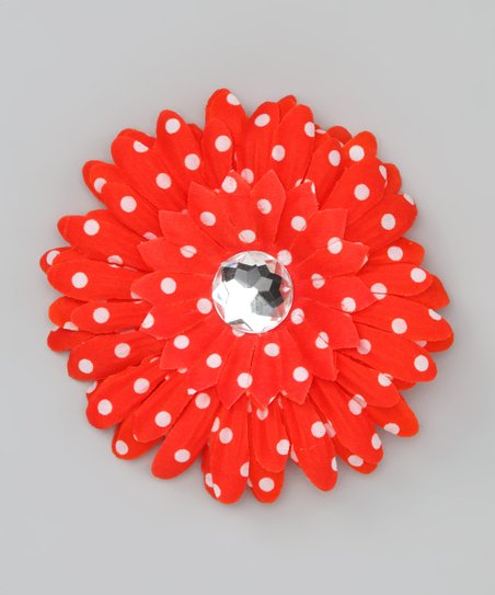 Red Polka Dot Jewel Flower Clip