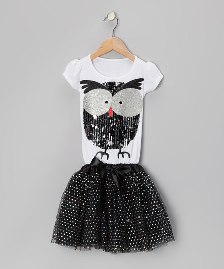 White & Black Sequin Owl Tutu Dress - Girls