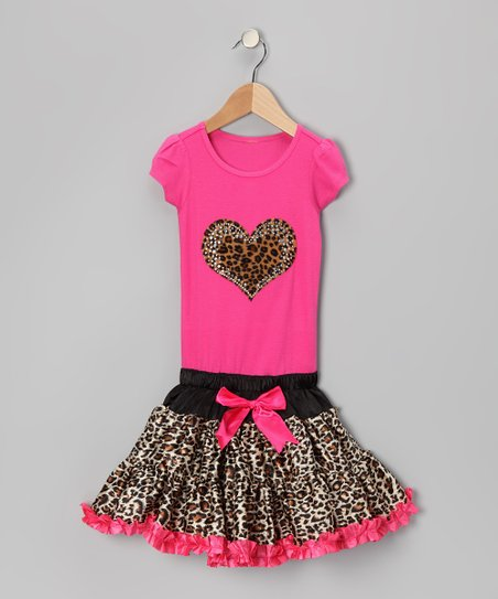 Hot Pink Cheetah Heart Ruffle Dress - Toddler &amp; Girls
