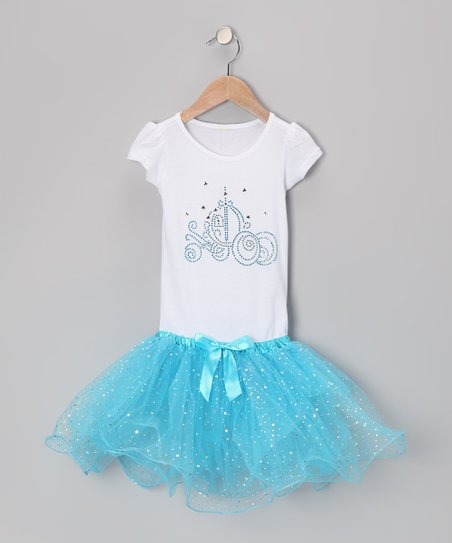White & Blue Princess Carriage Tutu Dress - Girls