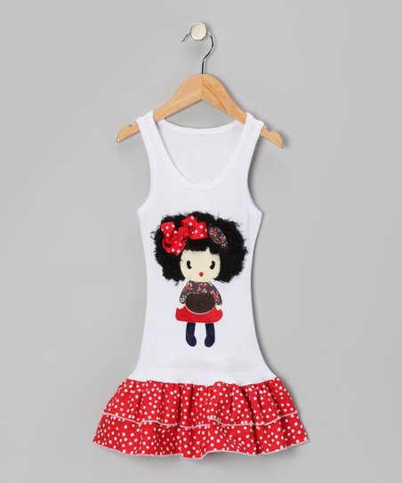 White &amp; Red Polka Dot Doll Drop-Waist Dress - Toddler &amp; Girls