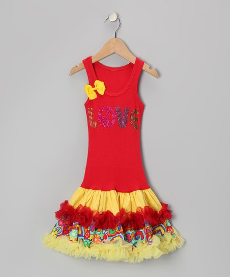 Red & Yellow 'Love' Ruffle Drop-Waist Dress - Toddler & Girls