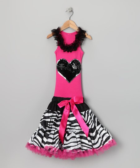 Hot Pink Zebra Heart Ruffle Drop-Waist Dress - Toddler & Girls