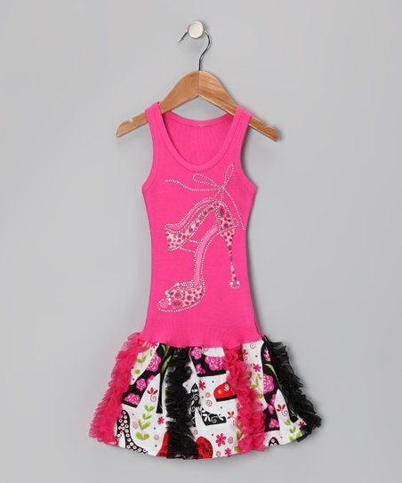 Hot Pink High-Heel Floral Ruffle Dress - Toddler &amp; Girls