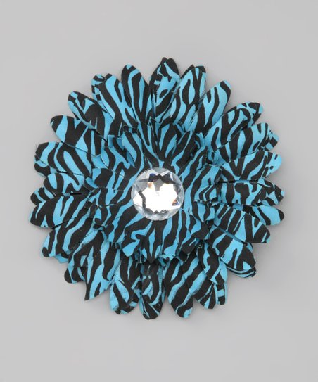 Blue Zebra Stripe Jewel Flower Clip
