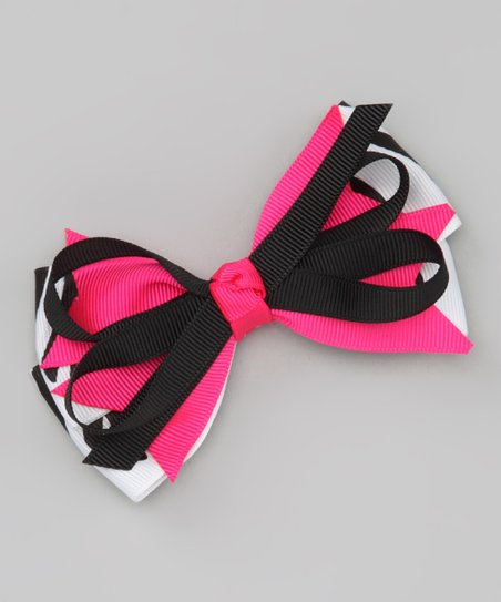 Hot Pink & Black Zebra Stripe Bow