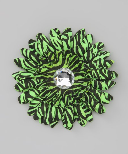 Green Zebra Stripe Jewel Flower Clip