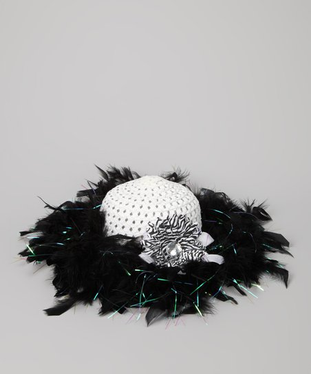 Black &amp; White Marabou Princess Tea Party Hat