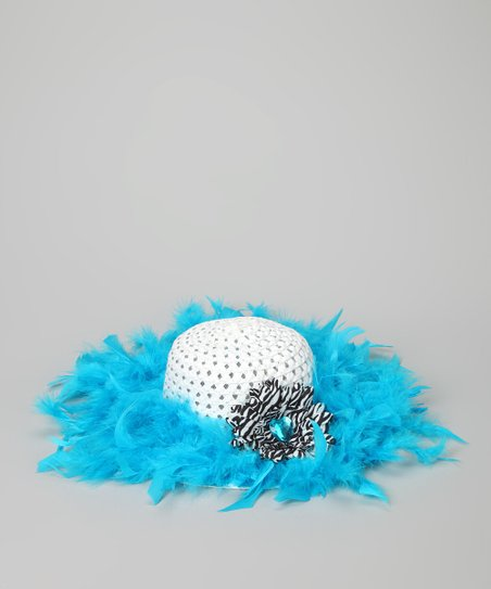 Blue &amp; White Marabou Princess Tea Party Hat