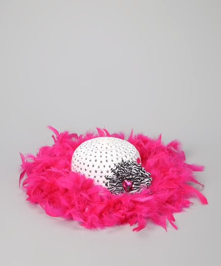 Hot Pink &amp; White Marabou Princess Tea Party Hat