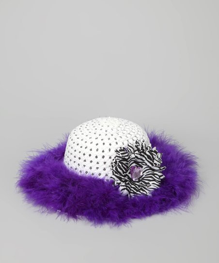 Purple & White Marabou Princess Tea Party Hat