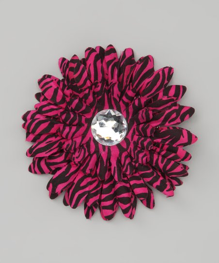 Hot Pink Zebra Stripe Jewel Flower Clip