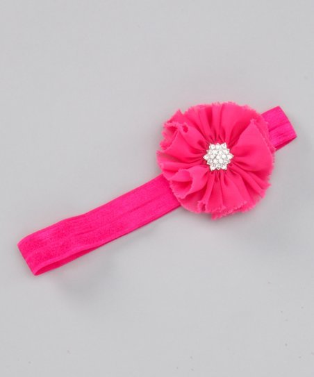 Dark Pink Shabby Flower Headband