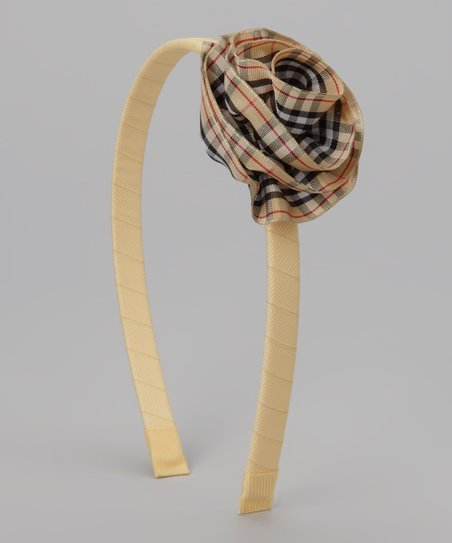 Tan Plaid Cabbage Rose Headband