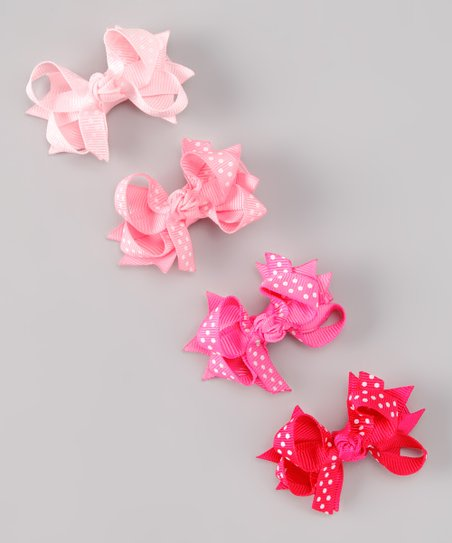 Hot Pink Polka Dot Bow Clip Set