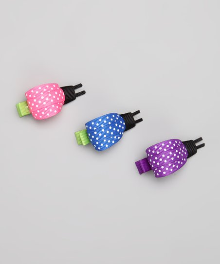 Pink, Blue & Purple Ladybug Clip Set