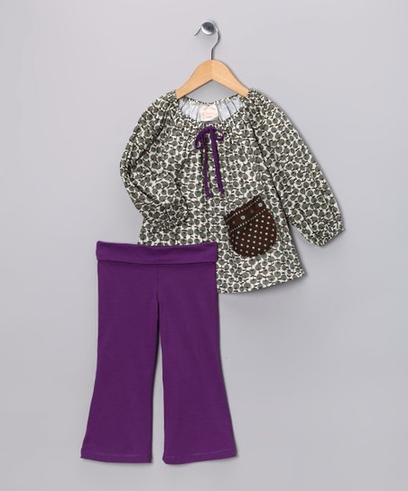 Olive Apple Swing Tunic & Purple Pants - Toddler