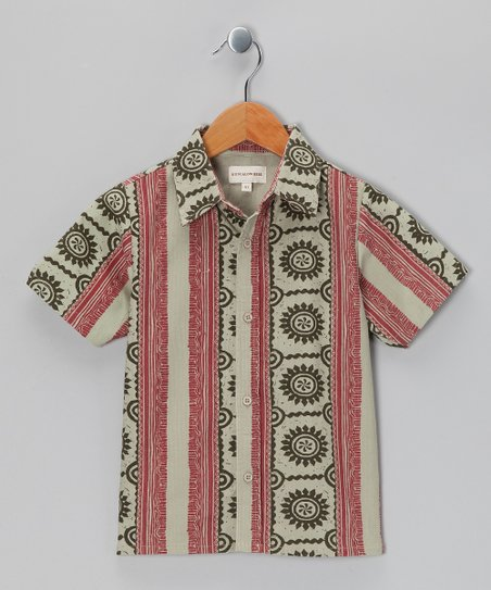 Red & Beige Surf Corduroy Button-Up - Boys