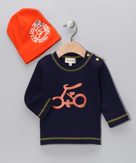 Navy & Orange Bicycle Tee & Beanie - Infant & Toddler