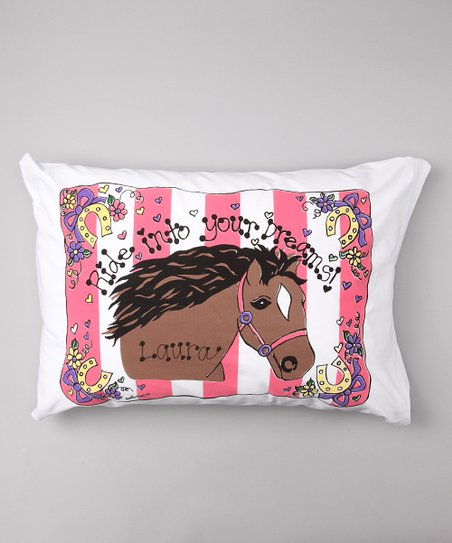 Pink Stripe Horse Personalized Standard Pillowcase
