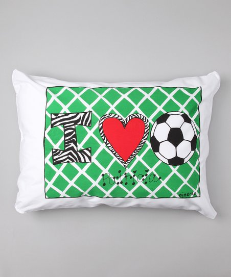 I Love Soccer Personalized Standard Pillowcase
