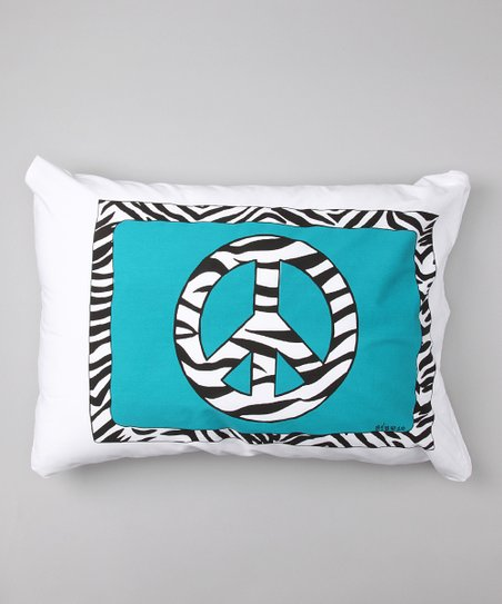 Blue Zebra Peace Sign Personalized Standard Pillowcase