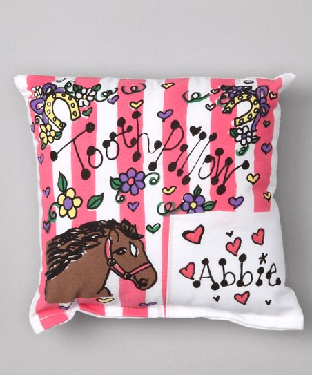 Pink Stripe Horse Personalized Tooth Pillow