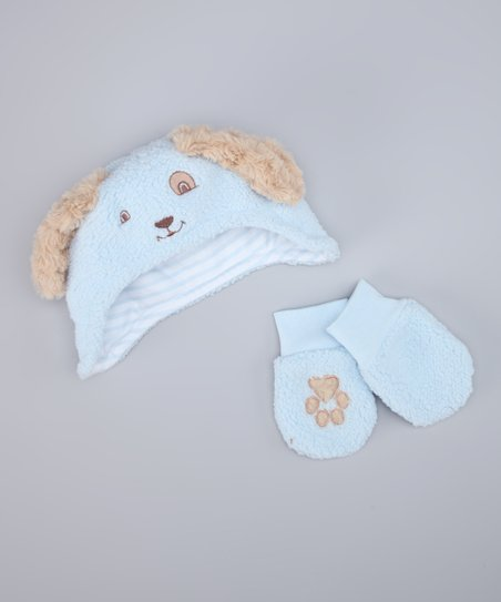 Bunnies by the Bay Blue Sherpa Earflap Beanie & Mittens