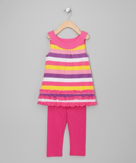 Pink & Purple Stripe Tunic & Leggings - Girls