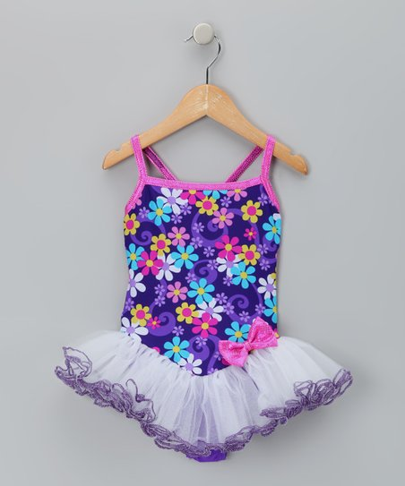 Purple Floral Betsy Skirted Leotard - Girls