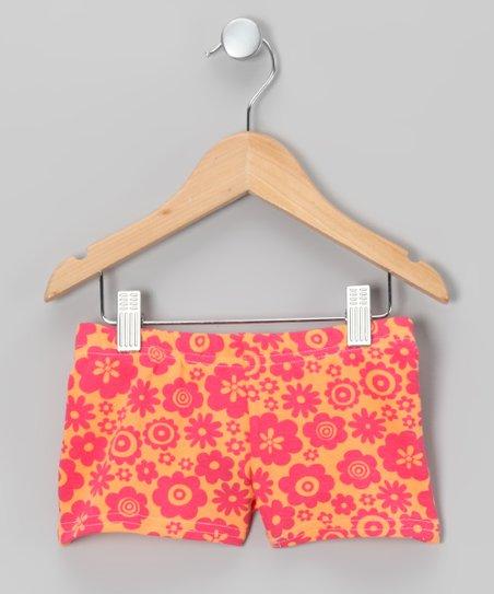 Orange Floral Shorts - Girls