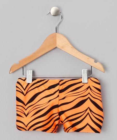 Orange & Black Zebra Shorts - Girls