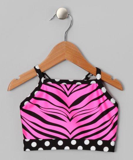 Pink Zebra Sports Bra - Girls