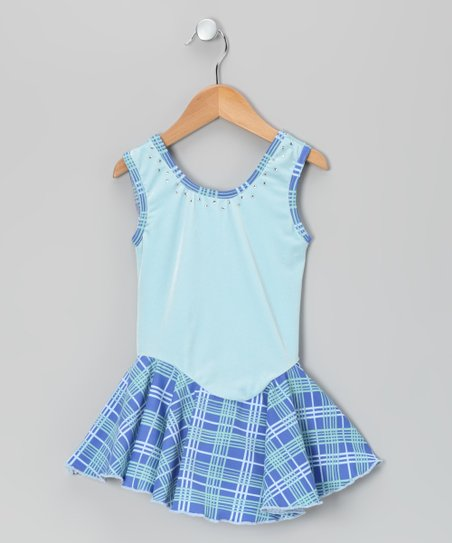 Blue Plaid Velvet Ice Skating Dress