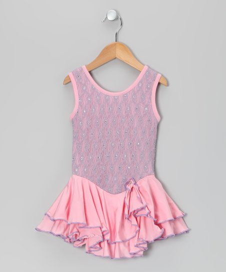 Pink & Lavender Lace Ice Skating Dress - Girls