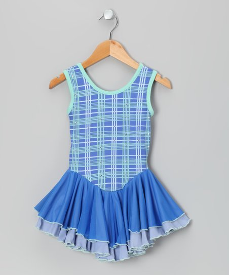 Blue Plaid Ruffle Ice Skating Dress
