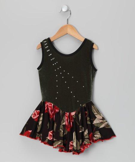 Sage Rose Velvet Skating Dress - Girls