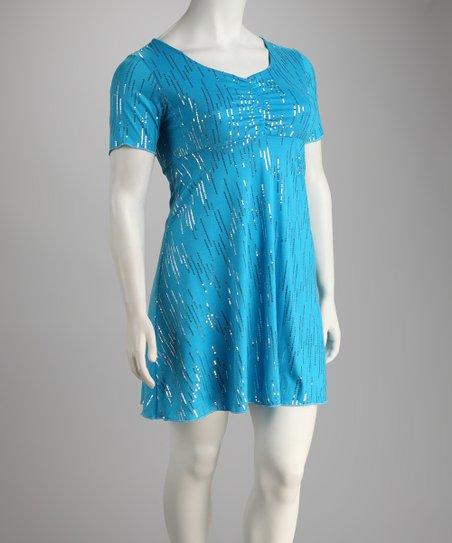 Turquoise Shimmer Plus-Size Dress