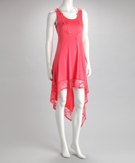 Coral Necklace Hi-Low Dress