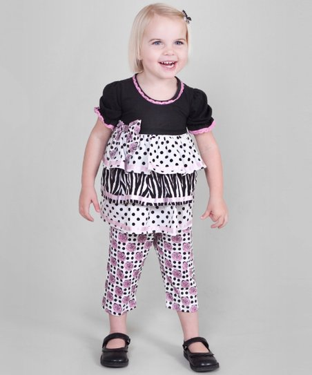 Black Polka Dot Tunic & Capri Pants - Toddler & Girls