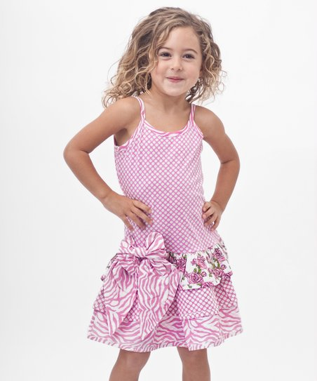 Pink Polka Dot Bow Drop-Waist Dress - Toddler &amp; Girls