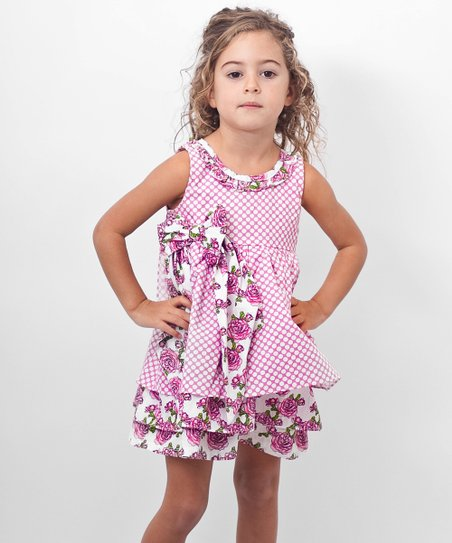 Pink Polka Dot Surplice Back Dress - Toddler & Girls