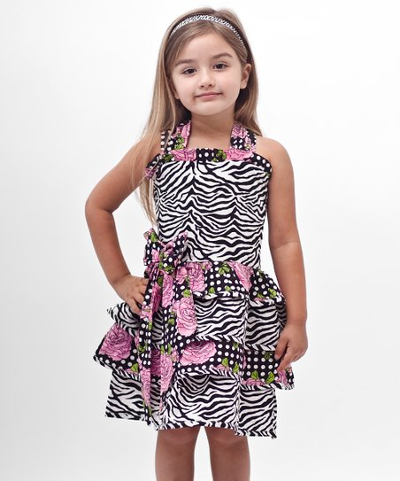 Black Zebra Bow Ruffle Dress - Toddler
