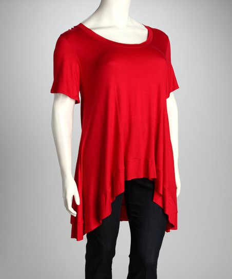 Red Alie Sidetail Tunic - Plus