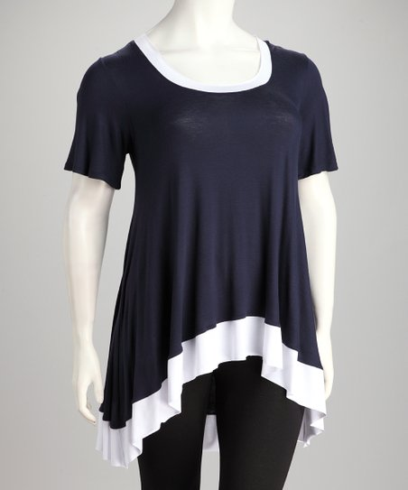 Navy & White Hi-Low Tunic - Plus